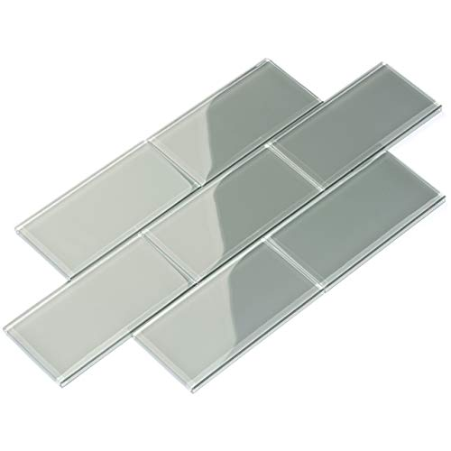 Giorbello G5928-44 Glass Subway Backsplash Tile, 3 x 6, True Gray