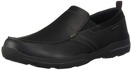 Skechers mens Relaxed Fit Harper - Forde Slip On Loafer, Black Leather, 12 US