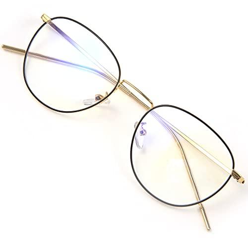 LAMIO ブルーライトカット メガネ おしゃれ PCメガネ メタルフレーム ボストン 丸メガネ ラウンド型 パソコン用メガネ ブルーライト HEV90%カット UV 紫外線カット レディース メンズ 伊達メガネ 度なし(ブラックゴールド)