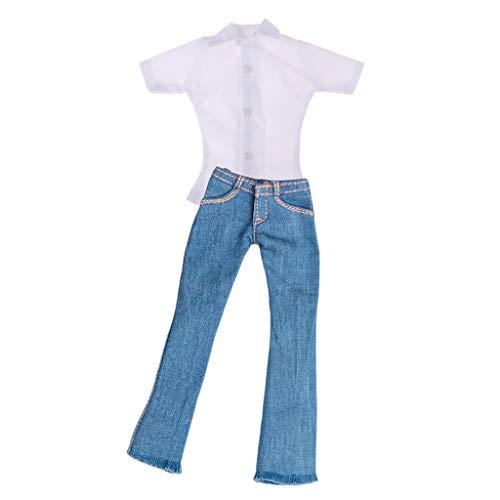 chiwanji Skinny Jeans voor Dames, Schaal 1/6, Wit Overhemd voor Actiefiguren van 30 Cm