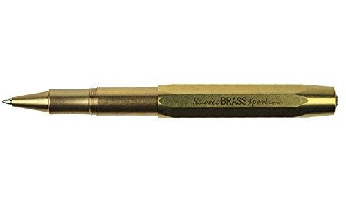 Kaweco Brass Sport Gel- / Kugelschreiber inklusive 0,7 mm Rollerball Tintenroller Mine für Linkshänder & Rechtshänder im klassischen Design mit Keramikkugel I Gelroller aus Messing 13,5 cm
