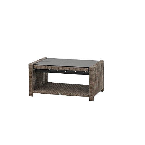 Siena Garden Klapptisch Teramo, 100x65/108x45/65cm, Gestell: Aluminium, pulverbeschichtet, Fläche: Gardino-Geflecht in bronze,Tischplatte: Spraystone
