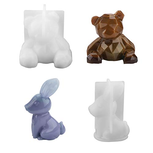 Juego de moldes de resina de silicona, diseño de oso y conejo en 3D, hecho a mano, para manualidades, jabón, creativo, resina, manualidades, decoración