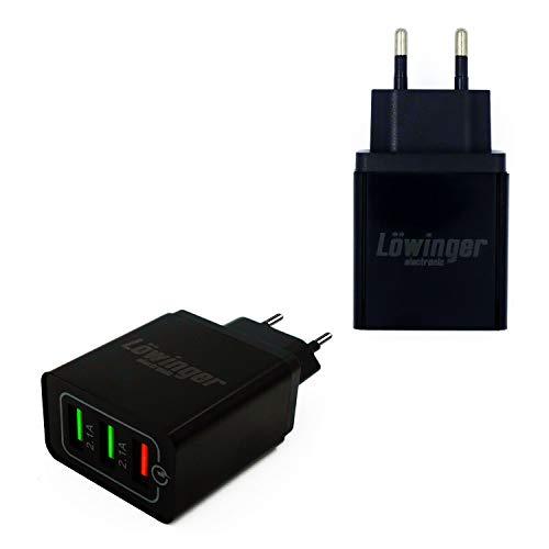 Löwinger Cargador USB de 3 puertos para iPhone, iPad, Samsung Galaxy, Note, etc. 5 V/9 V/12 V, color negro
