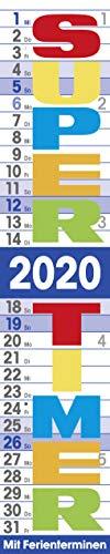 Supertimer 2020: Streifenkalender mit Datumsschieber, Ferienterminen und Spiralbindung I schmal im Format: 17 x 85 cm