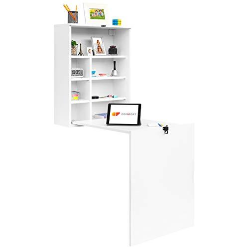 COMIFORT Escritorio Colgante - Mesa de Pared Plegable con Librería de Estructura Firme, Moderna y Minimalista con Baldas Espaciosas y de Gran Capacidad, Color Blanco