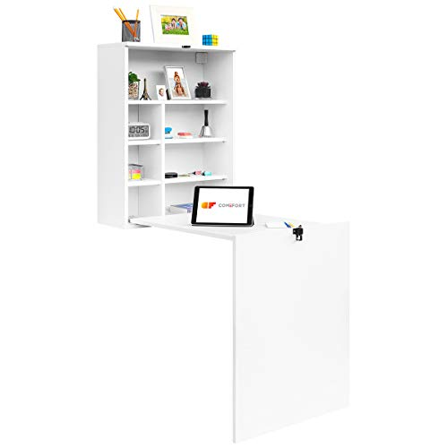 COMIFORT TC82B – Escritorio de Pared Plegable, Mesa Abatible Colgante de Pie...