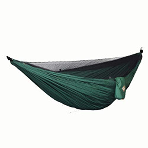 HWZBM Double Dark Green 210T Nylon Spinning Travel Camping Hammock With Mosquito Net, Load Capacity Up To 300 Kg, Breathable Bug Net Waterproof, Size: 240 * 140cm