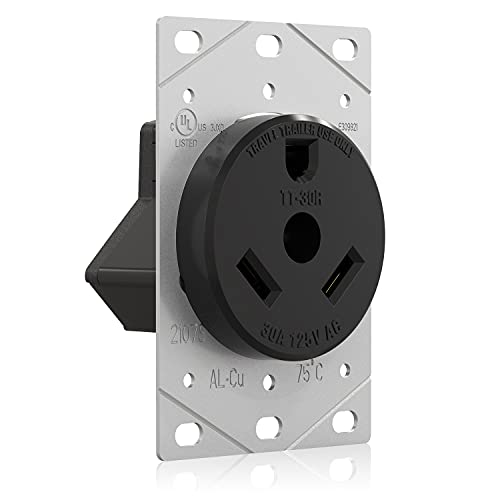 ELEGRP 30 Amps 120V RV Flush Mounting Power Outlet, NEMA TT-30R, Electrical Straight Blade Female Receptacle for RV and Electric Vehicles, Heavy Duty, Grounding, 2 Pole 3 Wire, UL Listed, 1 Pack