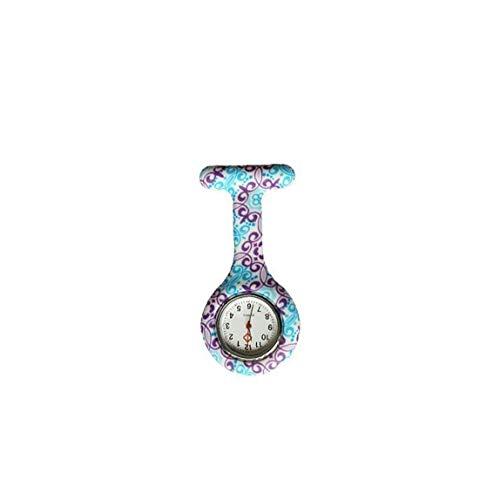 Reloj de bolsillo con diseño floral duradero para mujer, reloj de cuarzo analógico, de silicona, broche de bolsillo, clip para enfermera, productos del hogar