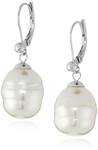 Majorica 12mm White Baroque Pearl Drop Sterling Silver Earrings Baroque Pearl Drop Earrings