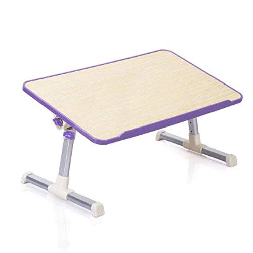 aycpg Laptop Desk Stand Laptop Bed Tray Table Height Angle Adjustable Sit Desk Foldable Bed Desk for Reading On Couch With Fan,black (Color : Purple)