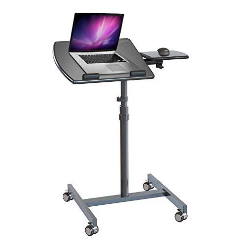 hjh OFFICE 802110 Stehtisch Laptopständer VM-SL Laptoptisch mit Mousepad-Ablage, drehbar & höhenverstellbar, mit Rollen