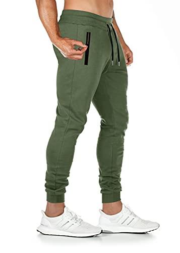 Lantch Jogginghose Herren Hose Baumwolle Jogger Sportswear Hosen Fitness Slim Fit Sporthose Männer Trainingshose Streifen Freizeithose Streetwear(A-Army Green,XL)