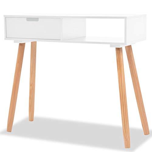 lahomie- Tocador blanco de madera maciza de pino, mesa auxiliar, mesita de noche, mesita de noche, mesa con tres cajones, 80 x 30 x 72 cm