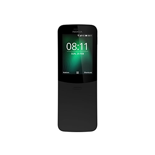 Nokia 8110 Mobiltelefon (2,45 Zoll QVGA Display, 4G, 2MP Kamera mit LED Blitz, MP3 Player, FM Radio, Weckfunktion, spritzwassergeschützt (IP52), Bluetooth 4.1) schwarz