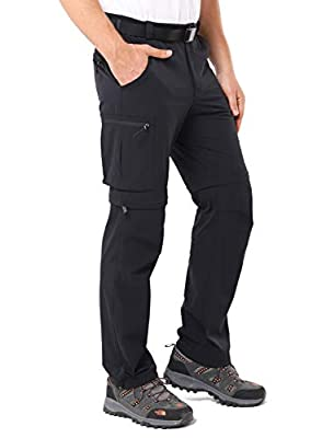 MIER Men's Convertible Hiking Pants Lightweight Quick Dry Outdoor Travel Nylon Pants, Stretch and Zip Off, Black, M