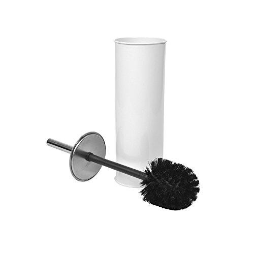 Douceur d'Intérieur - Scopino per WC, in Metallo, Dimensioni: 9,5 x 9,5 x 26,5 cm, Colore: Bianco