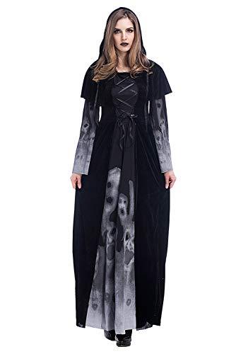 cultofmoon Disfraz De Bruja De Halloween para Mujer Disfraz De Calavera con Capucha Estampada Traje De Vestir De Capa Negra De Vampiro Fantasma, XXL