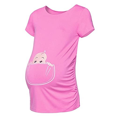 NUGKPRT Vestiti Premaman,Maternity Premium Stretch Pregnant Women Short Sleeve Print Tops T-Shirt Clothes Top XXL Pink