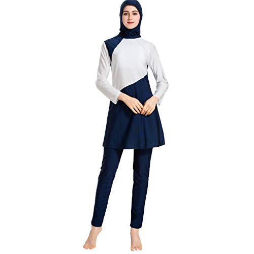 Lucky Mall Eid al-Fitr! Damen Farblich Passender Muslimischer Burkini, Lange Ärmel Badeanzug Top+Badehose+Badekappe Mittlerer Osten Strandmode Islamische Ramadan Ganzkörper Bademode Schwimmanzug