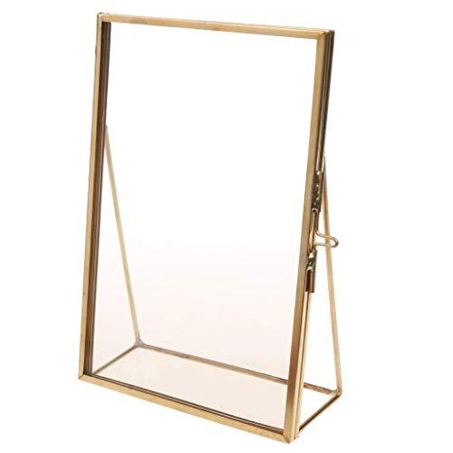 XY399 graden Decoratieve fotolijst Eenvoudige fotolijst Antieke Messing Glas Foto Frame Portret Gratis Stand Kwaliteit Cadeau voor Bruiloft Vrienden Home Decoratie