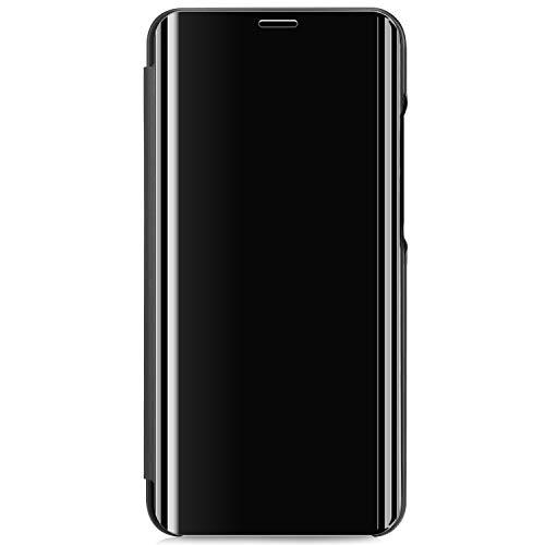 URFEDA Compatible con Samsung Galaxy A71 Funda PU Cuero Funda Cartera Cuerpo Completo Carcasa Claro Transparente Espejo Funda Cuero Libro Cover Magnético Soporte Carcasa Billetera Funda Negro
