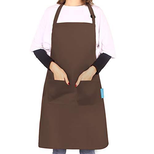 esafio - Grembiule da Cucina per Adulti, in Cotone e Poliestere, con Cintura Regolabile sul Collo e 2 Grandi Tasche per Chef, Giardinaggio, Ristorante