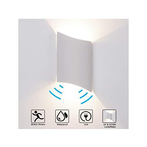 Lampada da parete da 12 W con sensore di movimento, per interni/esterni, illuminazione LED per interni, Bianco neutro, impermeabile IP65, in alluminio, illuminazione da parete