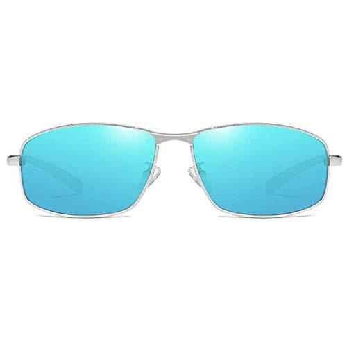 WMYATING Gafas de Sol, Ojos, a Prueba de luz, a Prueba de t Metal Cuadrado Anti-glaro 400 Gafas de Sol Azul/Lente de Plata Marco de Plata de Las Gafas de Sol polarizadas polarizadas (Color : Blue)