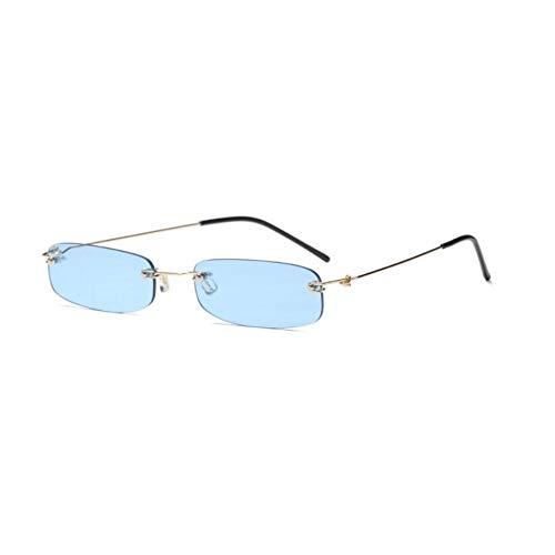 QAZXSW Occhiali Occhiali da Sole rettangolari Piccoli Donna Trasparente Arancione Giallo Rosso Occhiali da Vista Designer Uomo Sfumature Occhiali da Sole Senza Montatura Carino