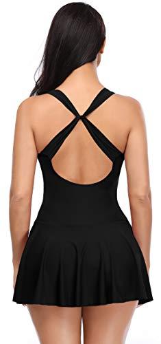 SHEKINI Mujer Espalda Criss Cross Retro Deep V Bañador con Falda Traje de Baño de Una Pieza Monokini con Shorts (Small, Negro)