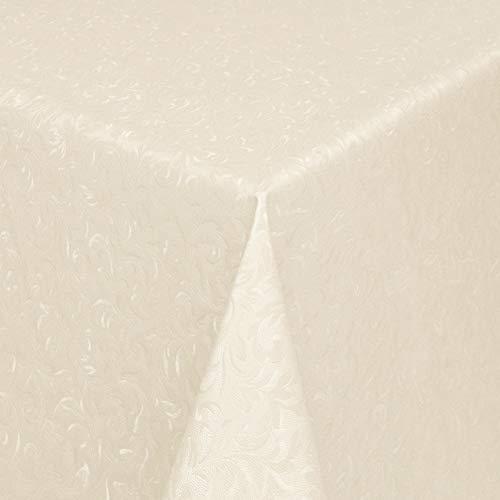 KEVKUS Wachstuch Tischdecke Meterware Damast geprägt 03032-8 floral beige wählbar in eckig rund oval (Rand: Schnittkante (ohne Einfassung), 130 x 170 cm oval)
