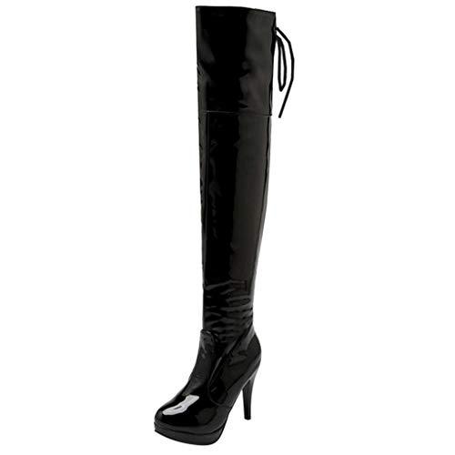 MOTOCO Damen über Knie Stiefel Länge Oberschenkel Schnüren High Heels Party Sued Leder Side Zip Stahl Pole Stiletto Tanzstiefel(Schwarz,38 EU)