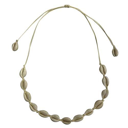 Süßwasser Muschel Halskette, Strand böhmischen Retro Naturseil Damen Schmuck, geeignet für alle Gelegenheiten (Mehrfarbig)