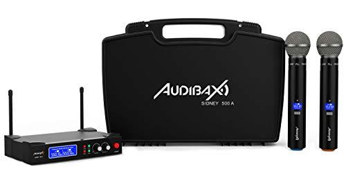 Audibax - Sidney 500 A - Micrófono Inalámbrico Profesional UHF Doble - Set de 2 Micrófonos de Mano + Maleta - Rango de Cobertura 50 metros - Incluye Receptor Display - Pilas Tipo AA