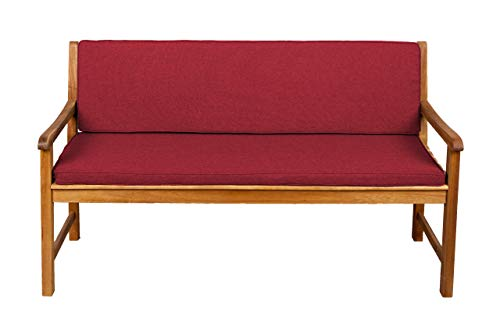 Bankauflage Für Hollywoodschaukel Set Glatt Sitzkissen + Rückenlehne FK5 (140x40x50, Rot)