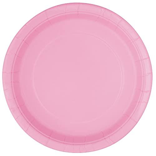 Unique Party- Piatti Ecologici in Carta-23 cm-Colore Rosa Confetto-Confezione da 16, Light Pink, 30879EU