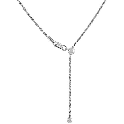 Sterling Silver Adjustable Rope Chain Necklace for Women 1.6 mm Rhodium Finish Nickel Free 24 inch