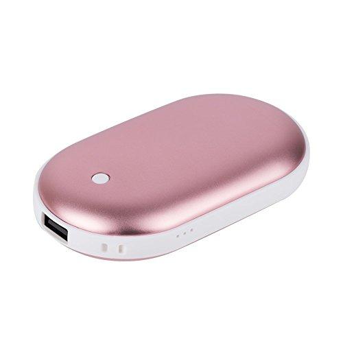 AVNTEN Wiederaufladbare Handwärmer, Portable Power Bank - Handheizung Taschenwärmer, 5200mAh Tragbar USB Energiebank für iPhone/Samsung Galaxy (Roségold)