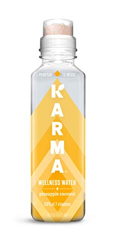 Karma Wellness Flavored Vitamin Water, Pineapple Coconut, 18 Fl Oz (Pack of 12), Improve Hydration with Green Tea and Magnesium, Low Calorie, Refreshing Vitamin Flavored Water with Antioxidants