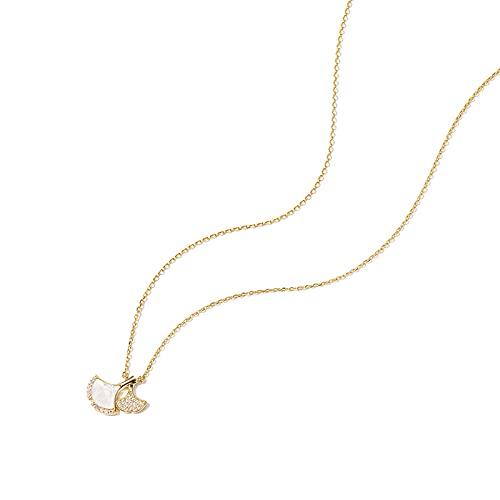 YAZHUANG8 Collares para Mujer Collar Delicado para Mujeres Ginkgo Hoja Shell Pequeño Albaricoque Suerte Collar Mujer