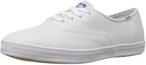 Keds Women's Champion Original Leather Lace-Up Sneaker, White, 8 Wide US