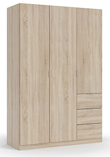 Habitdesign LCX353F - Armario ropero Tres Puertas y Tres cajones, Acabado Color Roble Canadian, Medidas 200x135x52 cm de Fondo