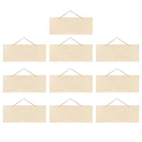 HEALLILY 10Pcs Oavslutade Hängande Trä Skylt Tomt Trä Skivor Banners Med Rep För Pyrgrafi Målning Skrivning Fartyg Projekt Väggdörr Konst Inredning