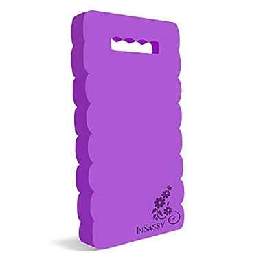 InSassy Garden Kneeling Pad Kneeler Mat for Gardening, Baby Bath, Yoga, Prayers & Exercise - High Density Foam Kneeler - Available in 3 Sizes, Purple
