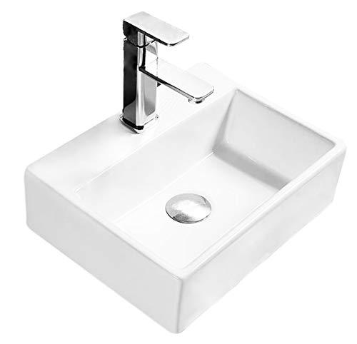 Design Keramik Rechteckig Waschtisch Handwaschbecken Aufsatz-Waschschale 39cm x 30cm x 12,5cm FÜR BADEZIMMER GÄSTE WC Echo