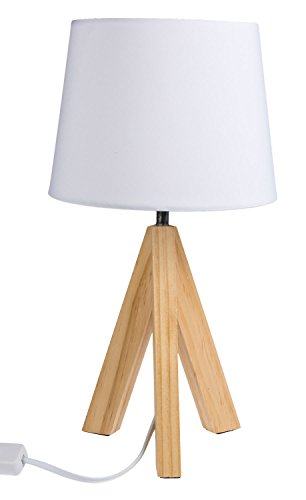 Out of the Blue 571285, lampara de mesa con pies de madera modelo 1, aprox. 36 cm, madera, color blanco, 20 x 20 x 36 cm