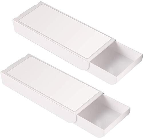 Debajo Escritorio Cajón Autoadhesivos,Guador 3 Piezas Plástico ABS Autoadhesivo Bandeja Cajones Caja de Slmacenamiento para Colgar Lápices Cajón Organizador Cajones Escritorio (Dos Tamaños)