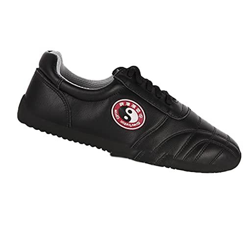Chinas Tradiciones Unisex Zapatos de Tai Chi , Zapatos de Kung Fu Artes Marciales Wing Chun para Hombres y Mujeres, Negro Zapatillasde Entrenamiento Deporte para Boxeo,(Size:45EU/14US,Color:negro)